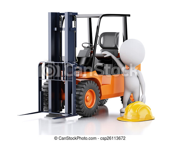 3d white people with a forklift truck. - csp26113672