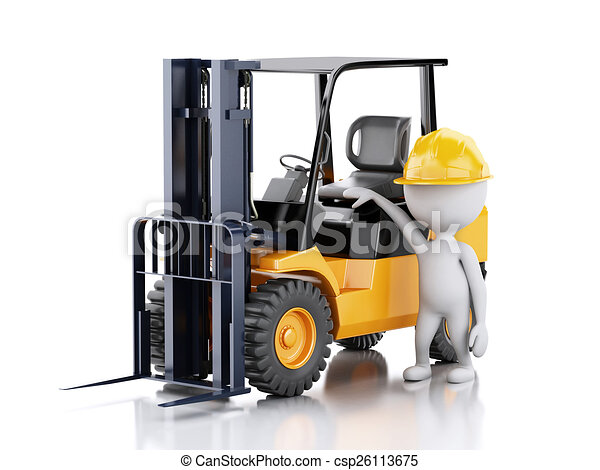 3d white people with a forklift truck. - csp26113675