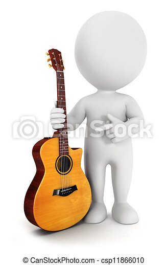 3d white people with a guitar - csp11866010