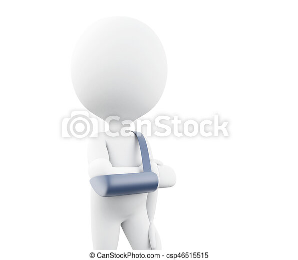 3d White people with broken arm. - csp46515515