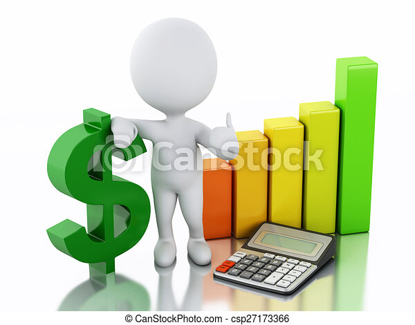 3d white people with business statistic graph and dollar sign. - csp27173366