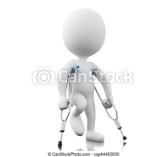 3d White people with crutches. - csp44450030