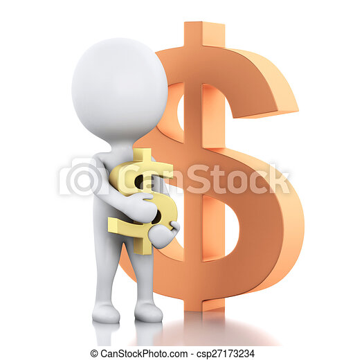 3d white people with dollar sign. Businessman - csp27173234