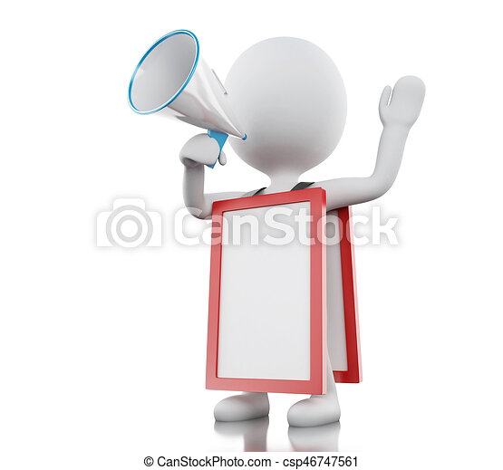 3d White people with megaphone and empty signboard - csp46747561