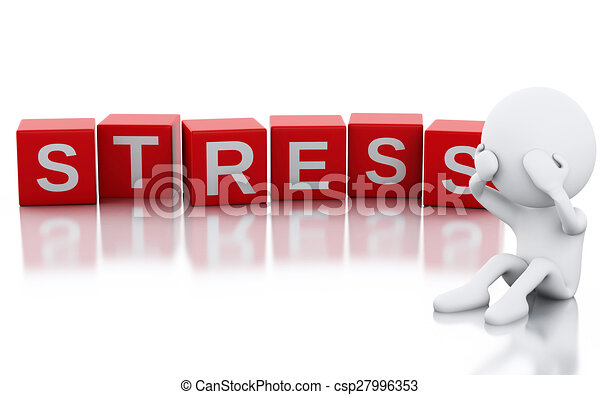 3d white people with stress - csp27996353