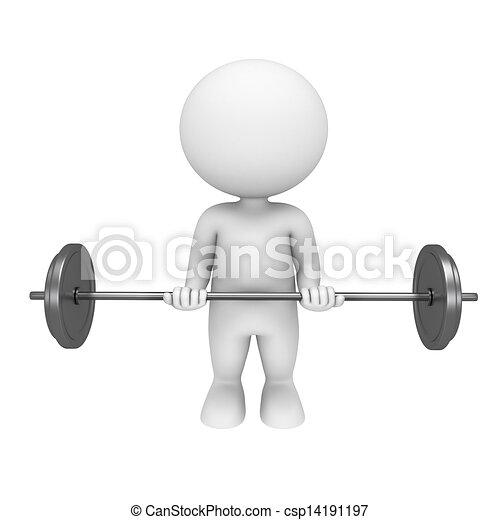 3d white people with weights - csp14191197