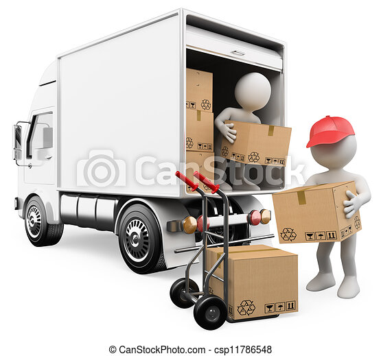 3D white people. Workers unloading boxes from a truck - csp11786548