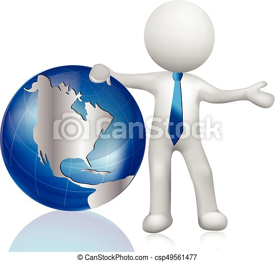 3d white people world map globe 3d white people man with world map globe csp49561477 gumiabroncs Images
