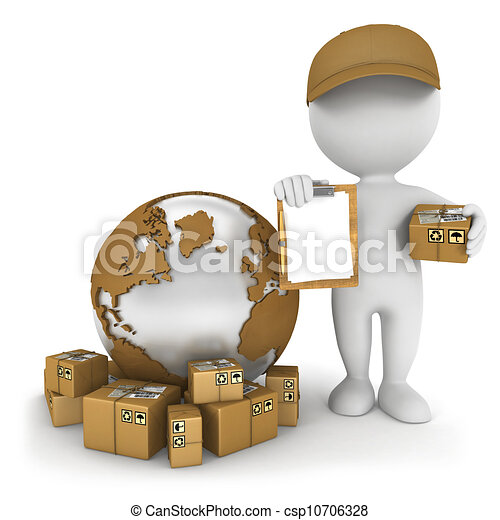 3d white people worldwide delivery - csp10706328