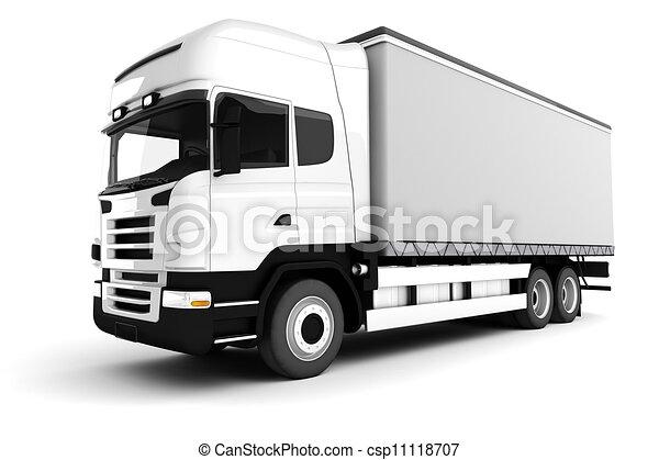 3d white truck