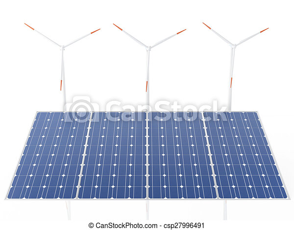 3d wind turbines and solar panels, alternative energy. - csp27996491