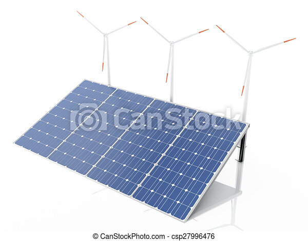 3d wind turbines and solar panels, alternative energy. - csp27996476