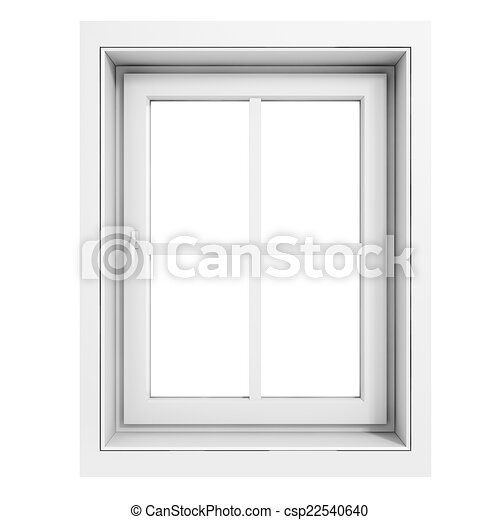 3d window frame on white background.
