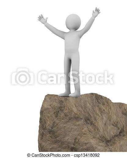 3d winner man on top of cliff - csp13418092