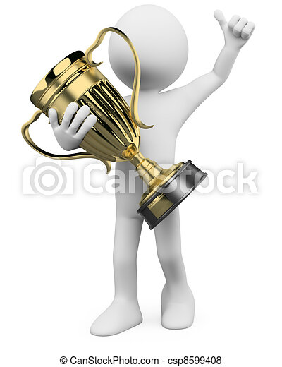 3D Winner with a gold trophy in the hands - csp8599408