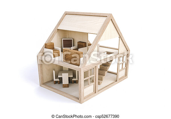 3d wood house on white background - csp52677390