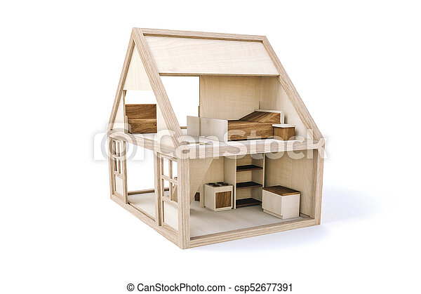 3d wood house on white background - csp52677391