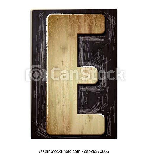 3d wood letterpress alphabet E - csp26370666