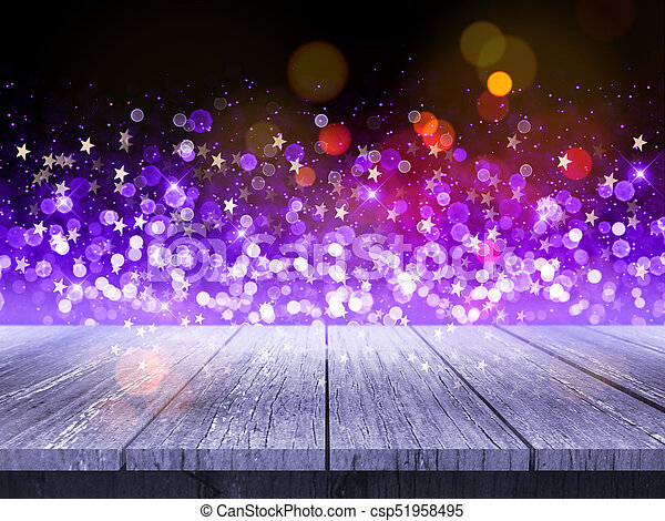3d Wooden Table Against Christmas Background Of Bokeh Lights And Stars