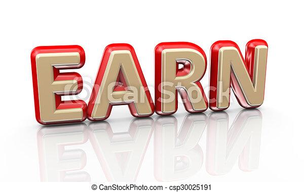 3d word earn - csp30025191