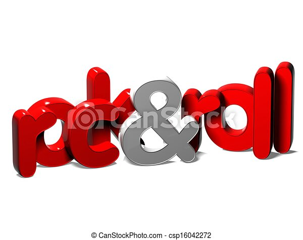 3D Word Rock And Roll on white background   - csp16042272