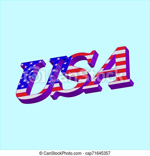 3D Word USA with american flag - csp71645357