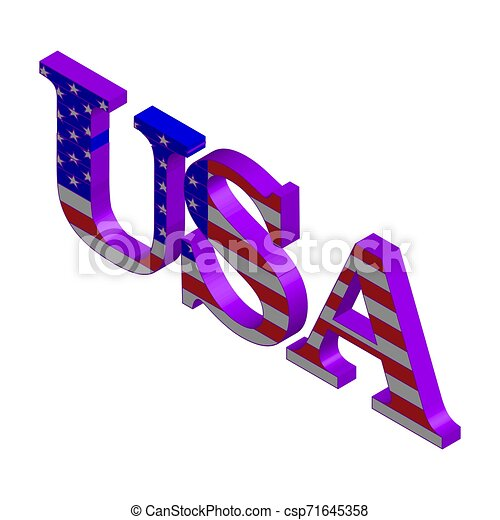 3D Word USA with american flag - csp71645358