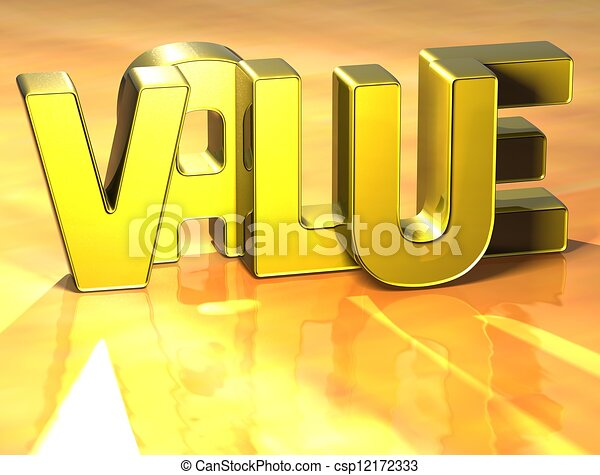 3D Word Value on yellow background - csp12172333