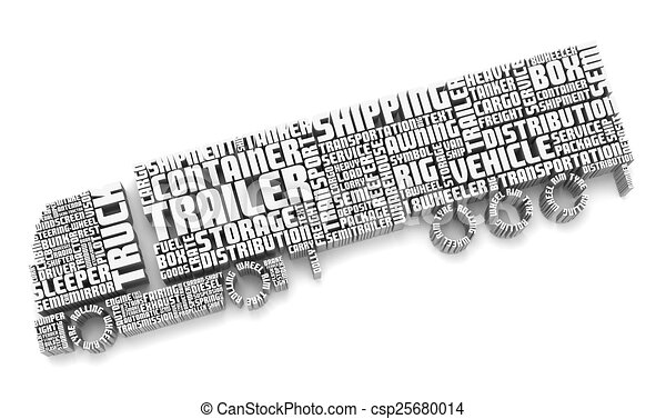 3d words shaping a truck with trailer. 3d group of words... clipart ...