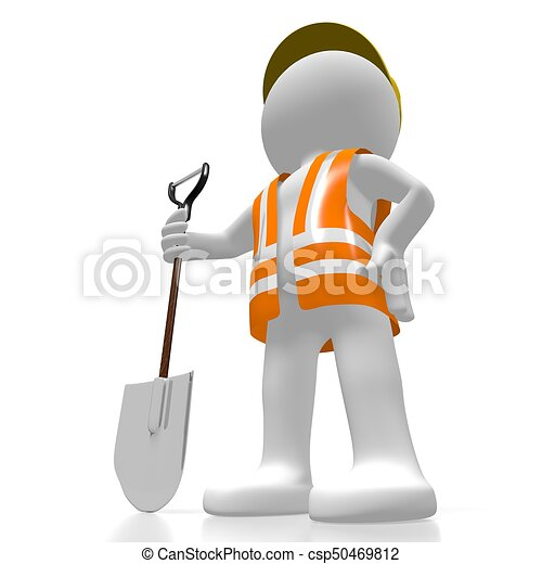 3D worker with a shovel - csp50469812