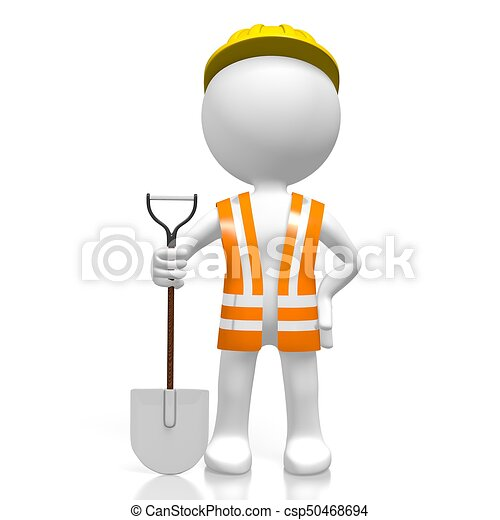 3D worker with a shovel - csp50468694