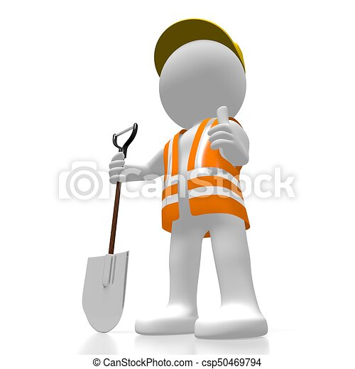 3D worker with a shovel - csp50469794