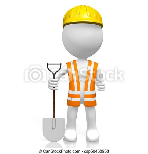 3D worker with a shovel - OK sign - csp50468958