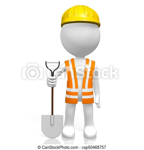 3D worker with a shovel - csp50468757