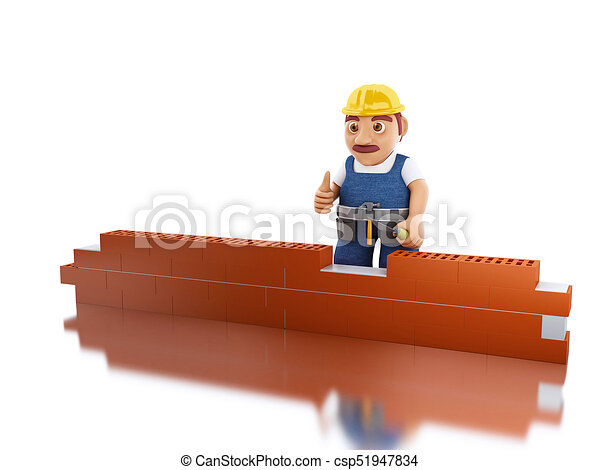 3d Worker With A Trowel Building Brick Wall Stock Illustration