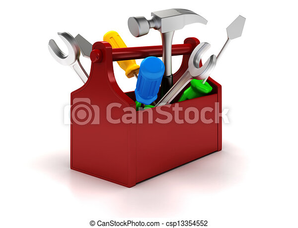 3d Working tools on white background - csp13354552