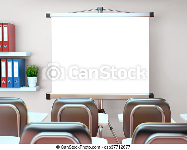 3d workshop with blank projector screen. office. mockup. 3d ...