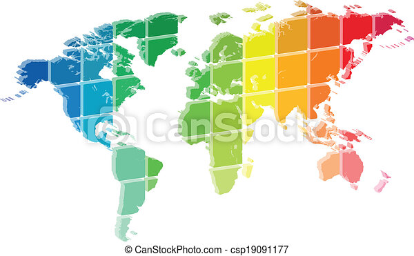 3D World Map Color Palette Abstract - csp19091177