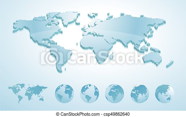 3d world map illustration with earth globes showing all continents 3d world map illustration with earth globes showing all continents gumiabroncs Images