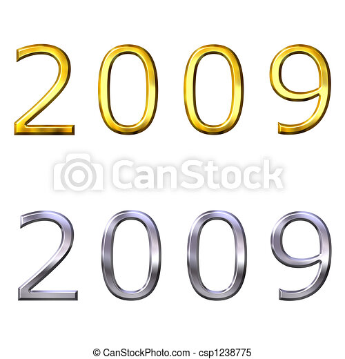 3d year of 2009 in gold and silver - csp1238775