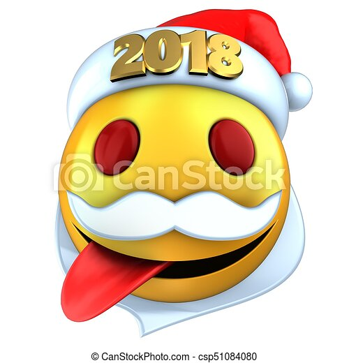 2537f5cbe14fe 3d yellow emoticon smile with 2018 christmas hat. 3d illustration of ...