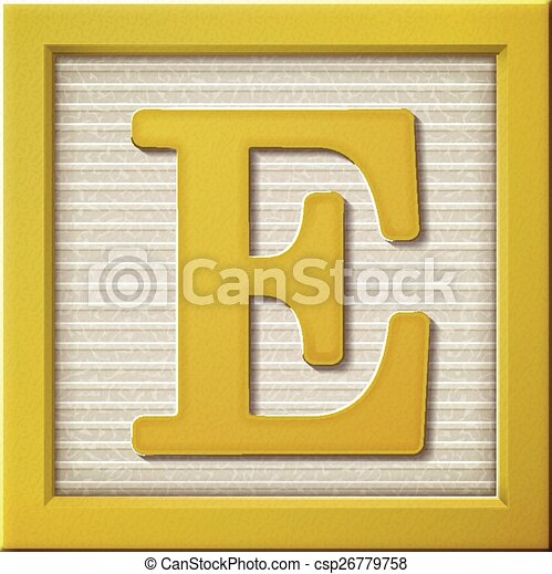 3d yellow letter block E - csp26779758
