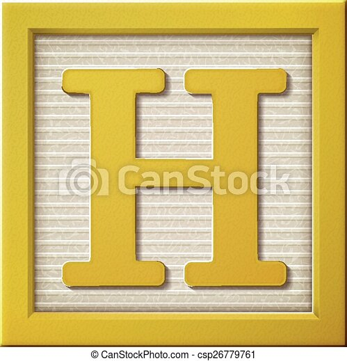 3d yellow letter block H  - csp26779761