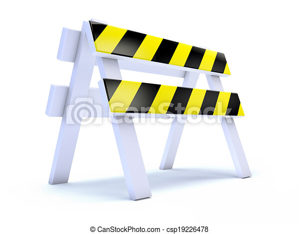 3d Yellow striped road works barrier - csp19226478