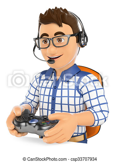 3d Young Gamer Playing Console Online Game 3d Young People Gamer Playing Console Online Game Isolated White Background