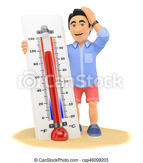 3D Young man in shorts with hot thermometer on the beach - csp46099203