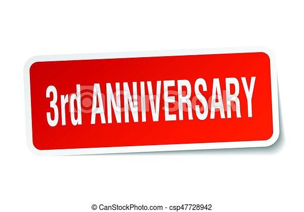 3rd anniversary square sticker on white - csp47728942