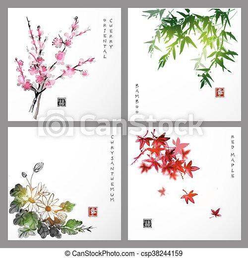 4, セット, seasons., reprezenting, compositions - csp38244159