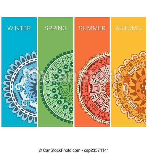 4, 季節, イラスト - csp23574141