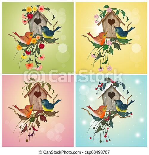 4, 家, 鳥, 季節 - csp68493787